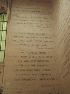 Quotes on the inside walls of the lobby of the Tribune Tower.