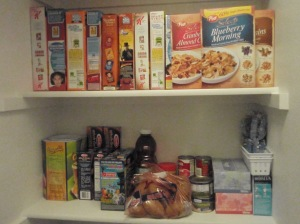 My pantry's usually loaded with cereal, pasta, potatoes, tomato sauce and juice.